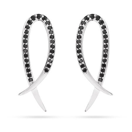 Black CZ Snake Tail Inspired Earrings | Eve's Addiction®