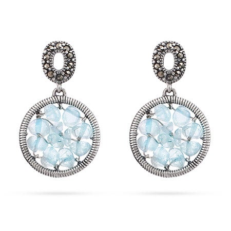 Genuine Aquamarine Beaded Round Earrings | Eve's Addiction®