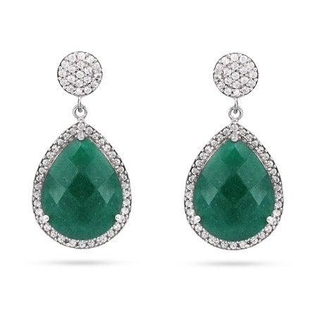 Green Quartz Pear Drop CZ Earrings | Eve's Addiction®