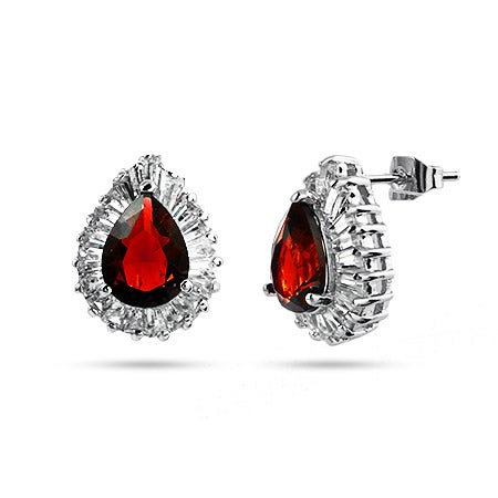 Pearcut CZ Ruby Cocktail Earrings | Eve's Addiction®