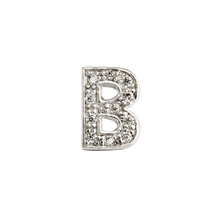 B Initial Stud with Sparkling CZs & Silver | Eve's Addiction®