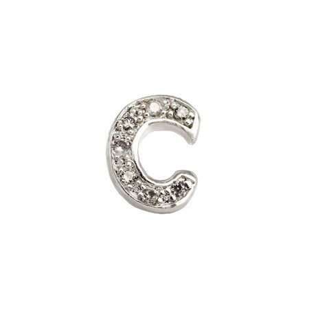 C Single Initial Sterling Silver CZ Initial Stud Earring | Eve's Addiction®