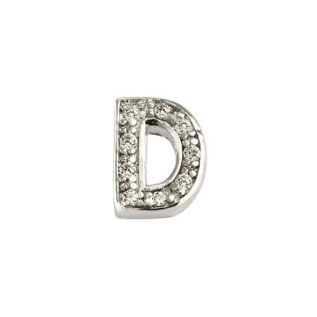 Single Initial CZ Earring in Sterling Silver - Letter D | Eve's Addiction®