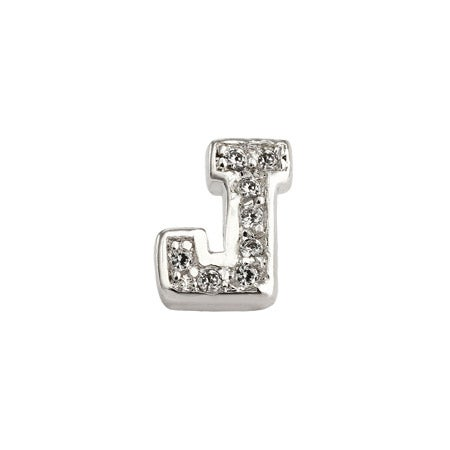 San Serif J Initial Earring in Silver | Eve's Addiction®