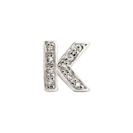 Letter K Initial Single Stud Earring | Eve's Addiction®