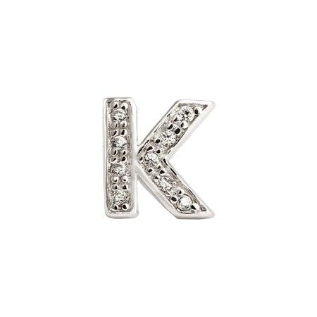 Letter K Initial Single Stud Earring | Eve's Addiction®