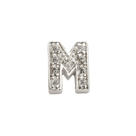 Letter M Initial Stud Earring in Sterling Silver | Eve's Addiction®