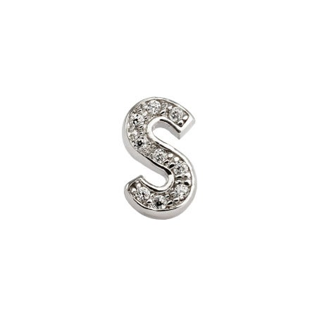 S Initial Stud Earring in Sterling Silver & CZs | Eve's Addiction®