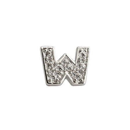 Letter W Initial Stud in Silver & CZ | Eve's Addiction®