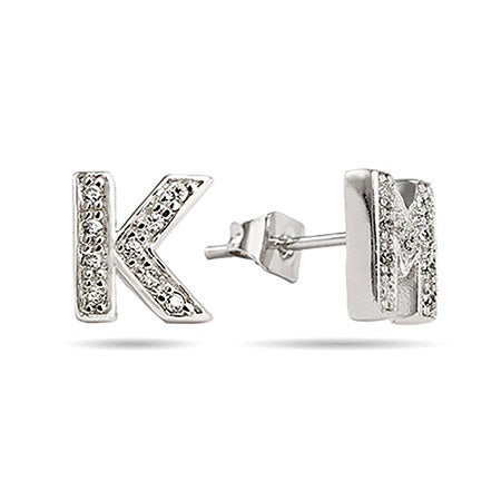 Sterling Silver CZ Initial Earrings