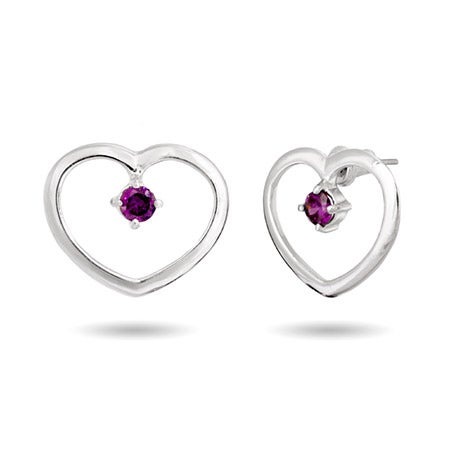 Birthstone Heart Prong Set Silver Earrings