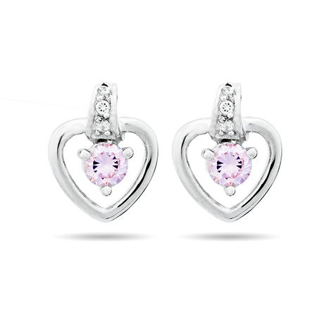 Birthstone Heart Prong Set Sterling Silver Stud Earrings | Eve's Addiction®