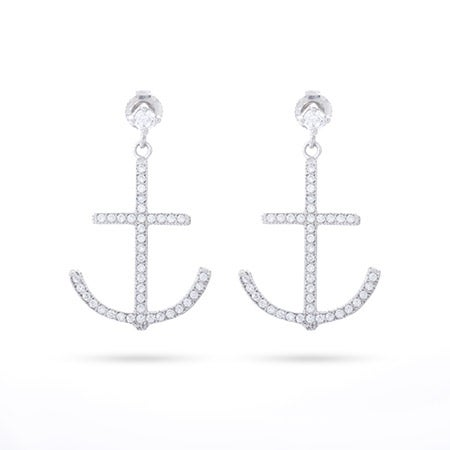 Sterling Silver CZ Anchor Dangle Earrings | Eve's Addiction®