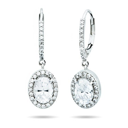 Halo Oval Cut CZ Leverback Earrings | Eve's Addiction®