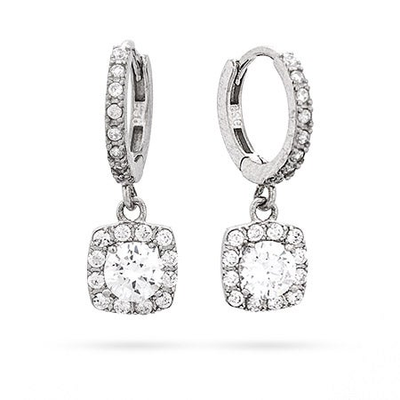 Square Halo Brilliant Cut CZ Sterling Silver Leverback Earrings | Eve's Addiction®