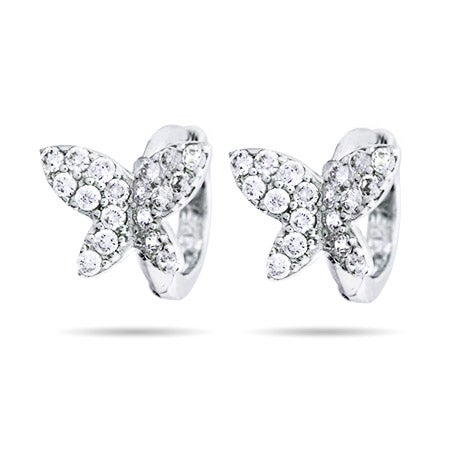 Petite Butterfly CZ Huggie Earrings | Eve's Addiction