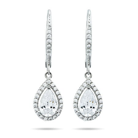 Halo Teardrop CZ Sterling Silver Earrings | Eve's Addiction®
