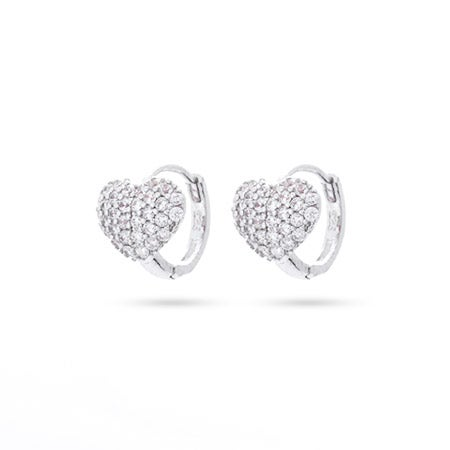 Petite CZ Heart Huggie Earrings in Sterling Silver | Eve's Addiction®