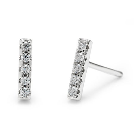 CZ Bar Sterling Silver Studs | Eve's Addiction®