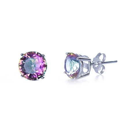Mystic Fire CZ Round Stud Earrings | Eve's Addiction®