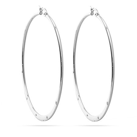 "Stainless Steel 2.5"" CZ Accent Hoop Earrings 