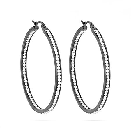 "2"" Inside Out Black over Stainless Steel CZ Hoop Earrings 