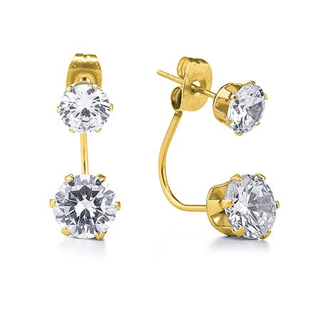 Gold CZ Double Stud Earrings | Eve's Addiction