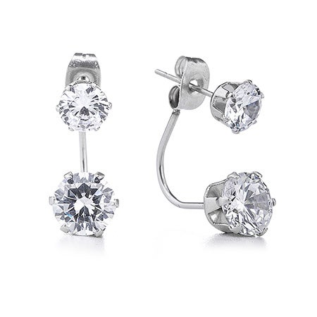 Brilliant CZ Double Stud Earrings | Eve's Addiction®