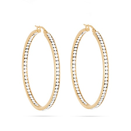 "2"" Inside Out Gold CZ Hoop Earrings 