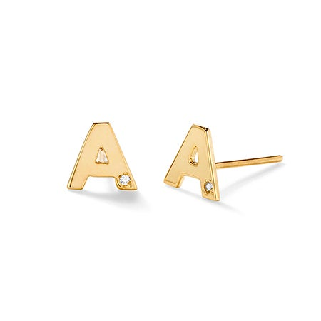 Diamond Initial Gold Stud Earrings | Eve's Addiction®