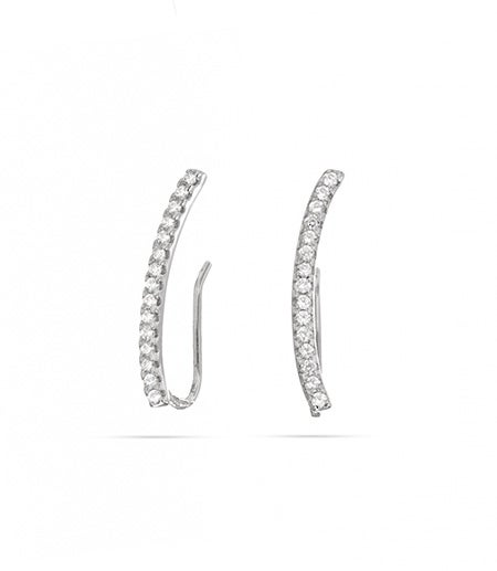 Small CZ Bar Ear Crawlers in Sterling Silver | Eve's Addiction®