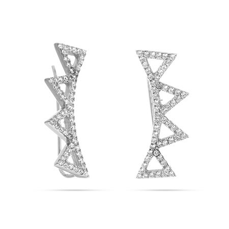 Triangle Drops CZ Ear Crawlers in Sterling Silver | Eve's Addiction®