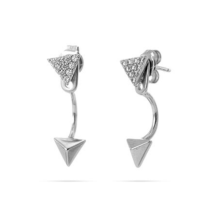 Double Pyramid Silver & CZ Ear Jackets | Eve's Addiction®