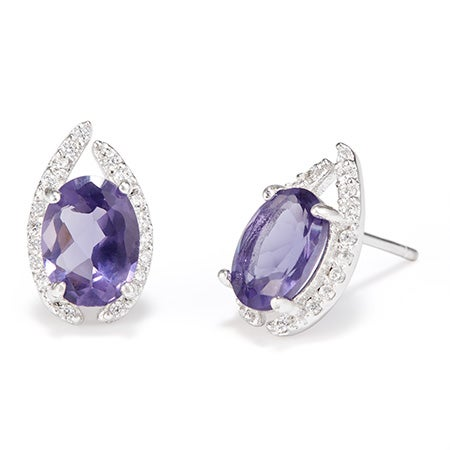 Pave CZ Oval Birthstone Stud Earrings