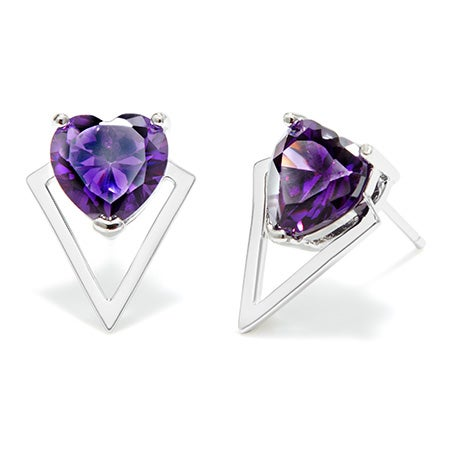 Custom Heart Birthstone Triangle Stud Earrings