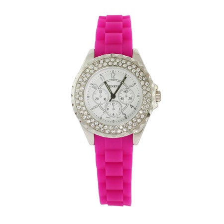Designer Inspired Sparkling Deep Pink CZ Watch with Rubber Band | Eve's Addiction®