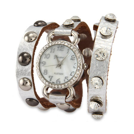 Silver Leather with CZ Studs Wrap Watch | Eve's Addiction®