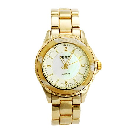 Gold Plated Boyfriend Style Watch with Horn Inlay