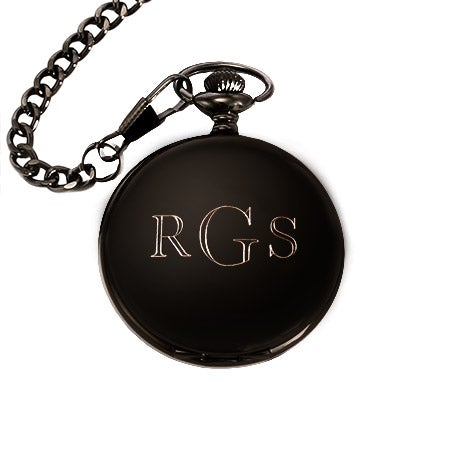 Engravable Pocket Watch in Black Stainless Steel