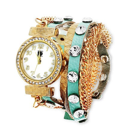 Mint Wrap Around Watch with Gold Chain | Eve's Addiction®