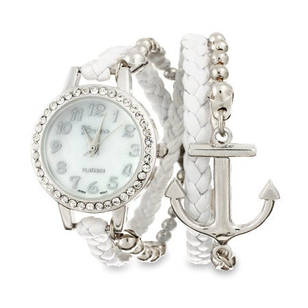 White and Silver Anchor Wrap Watch | Eve's Addiction®
