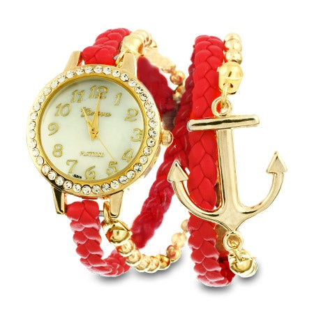Red and Gold Braided Anchor Wrap Watch | Eve's Addiction®
