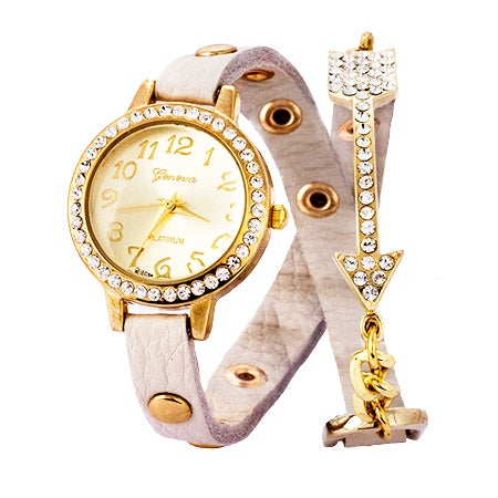 Cream and Gold Studded CZ Arrow Wrap Watch | Eve's Addiction®