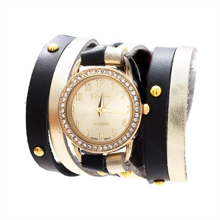 Black and Gold Leather Studded Wrap Watch | Eve's Addiction®