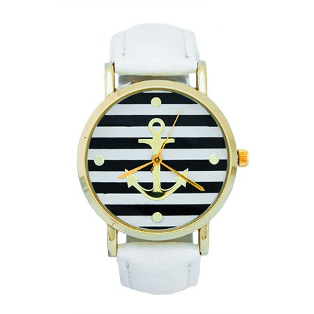 Striped Anchor Watch with White Leather Band | Eve's Addiction®