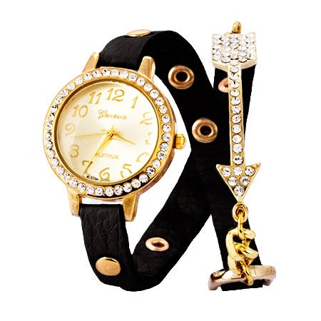 Arrow Studded CZ Black and Gold Wrap Watch | Eve's Addiction®