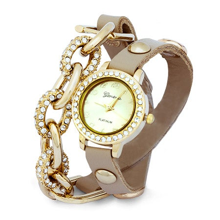 Chain Link CZ Beige and Gold Wrap Watch | Eve's Addiction®