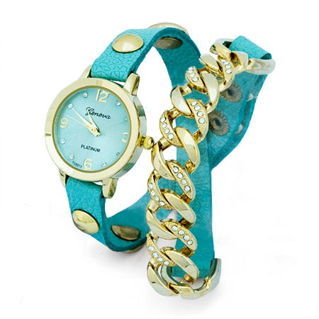 Sideways Link CZ Mint and Gold Wrap Watch | Eve's Addiction®