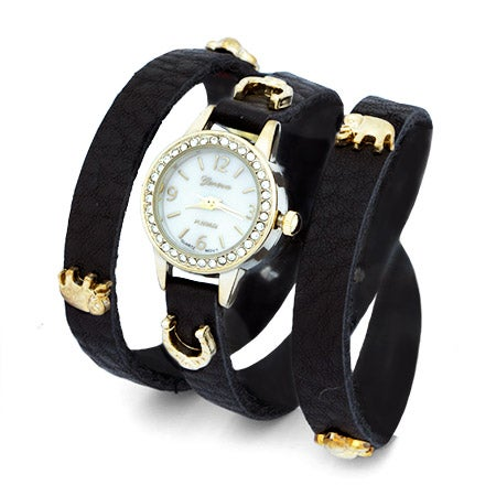 Lucky Charm Black and Gold Wrap Watch | Eve's Addiction®