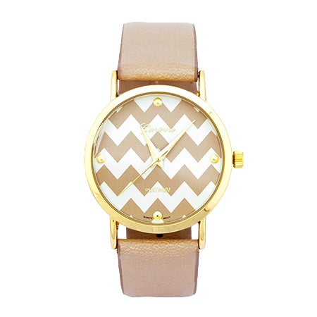 Chevron Nude Leather Fashion Watch | Eve's Addiction®